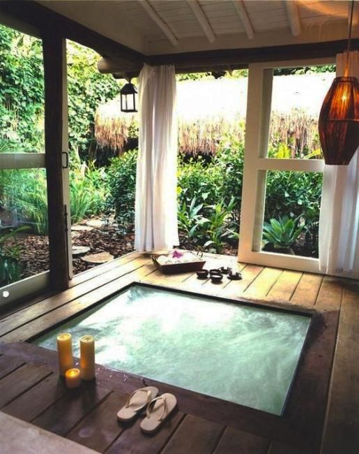 Beautiful Outdoor Bathroom Design, Charming and Soothing Home Spa .