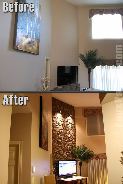Accent Wall Ideas with Stone Veneer | Creative Faux Panels .