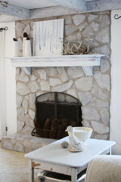 erin's art and gardens: painted stone fireplace before and after .