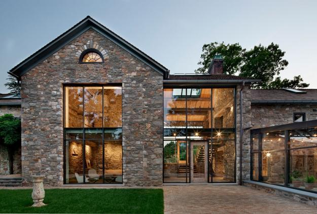 Modern Redesign Of Old Country Home with Antique Stone Walls and .