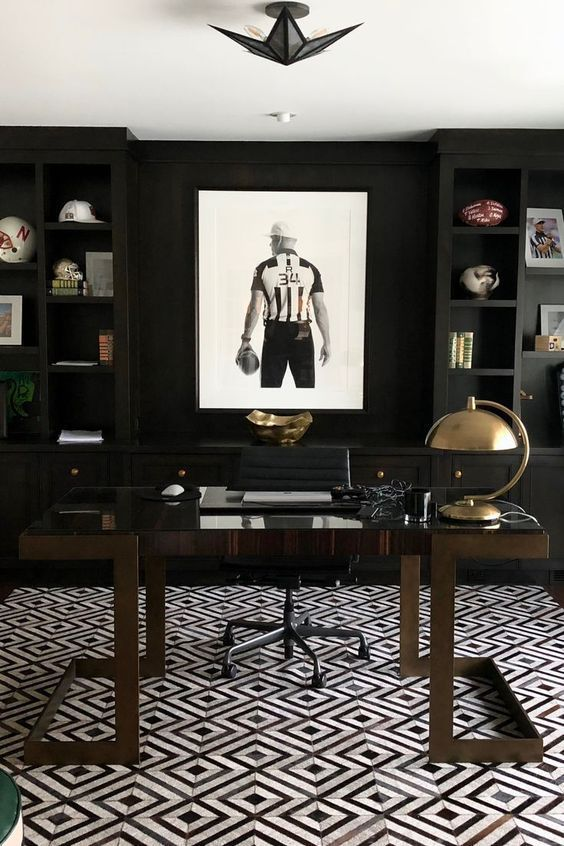 59 Stylish And Dramatic Masculine Home Offices - DigsDigs .