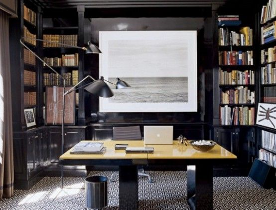 59 Stylish And Dramatic Masculine Home Offices | Masculine home .