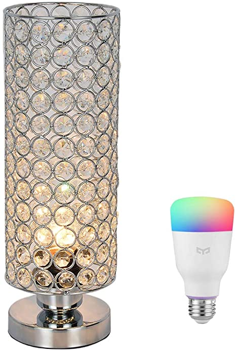 Crystal Table Lamp with Yeelight Smart LED Bulb, 60W Equivalent .