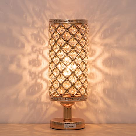 Amazon.com: HAITRAL Gold Crystal Table Lamp - Vintage Nightstand .