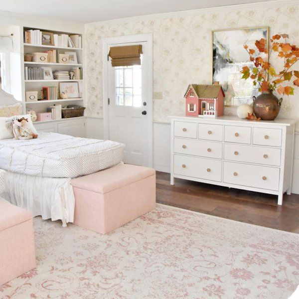 Functional and on-trend, this miniature blush pink upholstered .