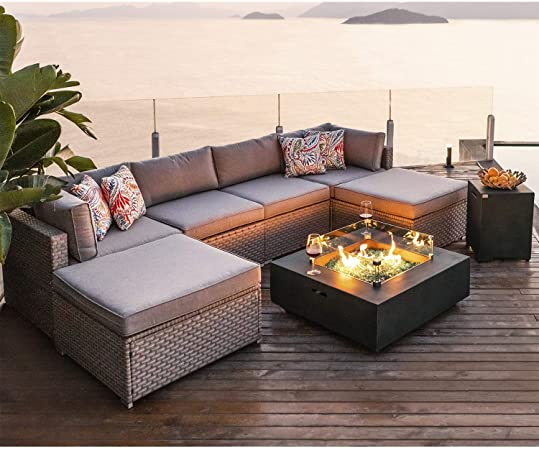 Amazon.com: COSIEST 8-Piece Fire Pit Table Outdoor Furniture Sofa .