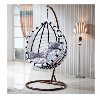 Melon Shaped Bali Style Rattan Woven Summer Outdoor Swing Hanging .