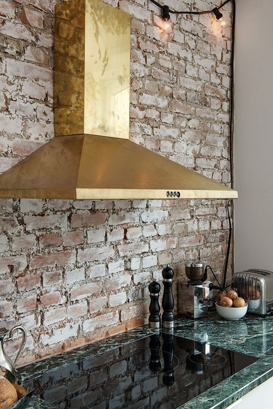 homeadverts   Exposed brick walls, Green marble, Brass kitch