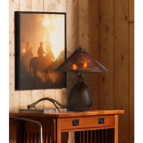 Nell Arts and Crafts Pottery Mica Shade Table Lamp - #Y4626 .