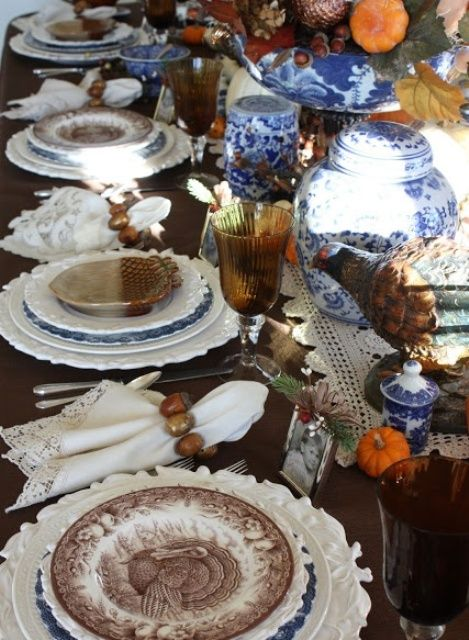 43 Thanksgiving Décor Ideas With Blue (With images) | Thanksgiving .