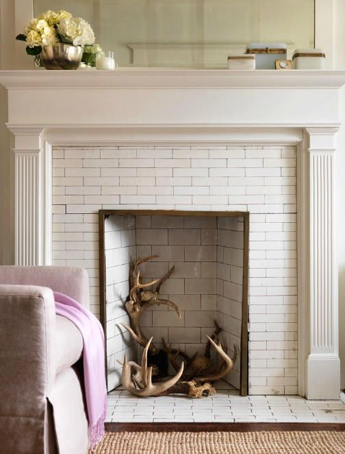 Orlando's Obsession: Tiled Fireplaces   White fireplace, Unused .