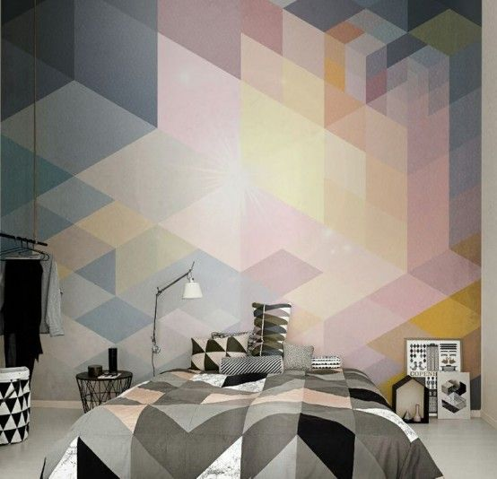 21 Trendy And Eye-Catching Geometric Bedroom Décor Ideas   Wall .