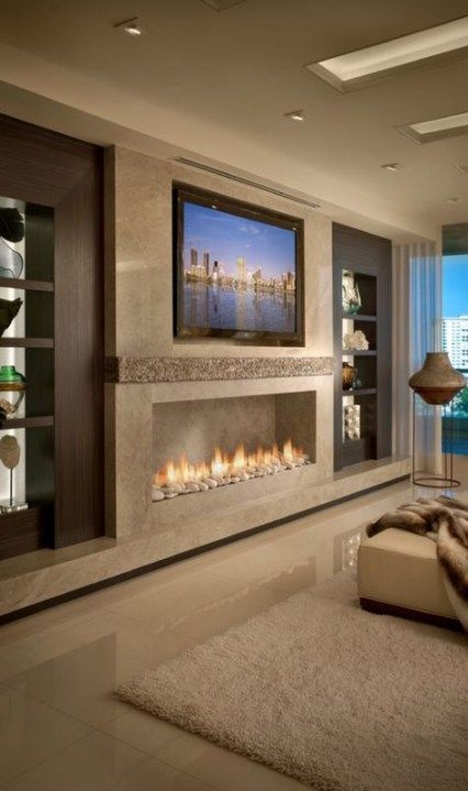 Trendy living room decor with fireplace mounted tv ideas   Living .