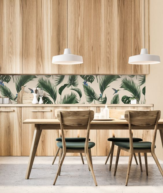 Simple And Laconic Tropical Kitchen With Plywood Cabinets .