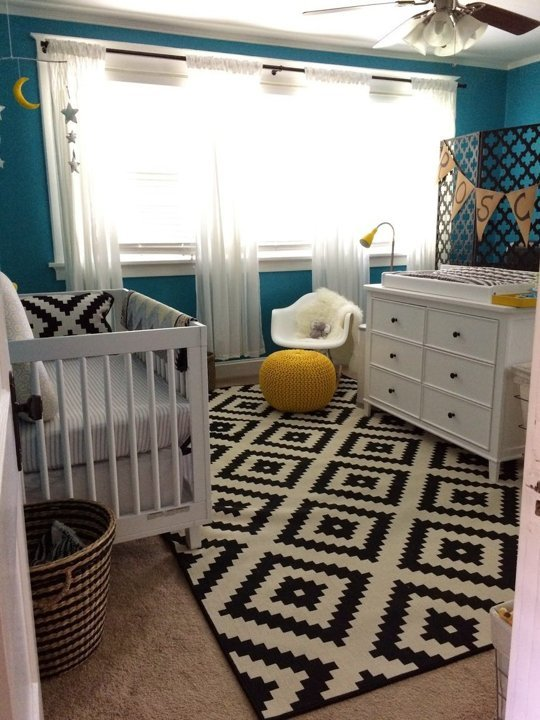 Turquoise Nursery Design With Yellow, Black And White Accents .