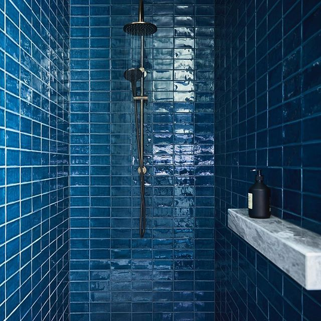 The blue bathroom! A bold gesture of colour saturates the .