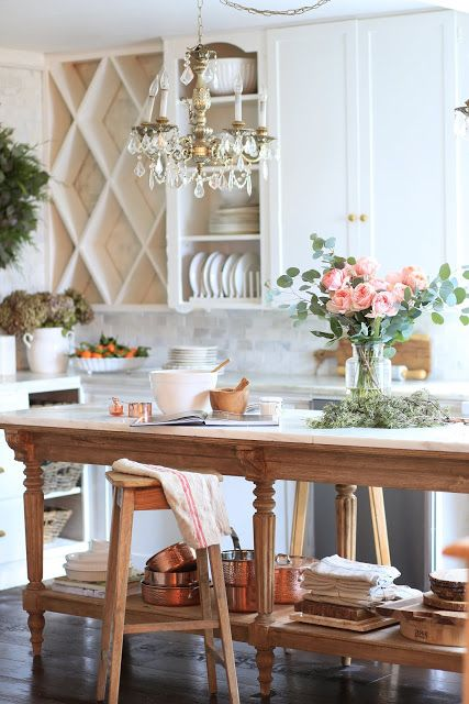 A charming vintage inspired kitchen island   Country kitchen .