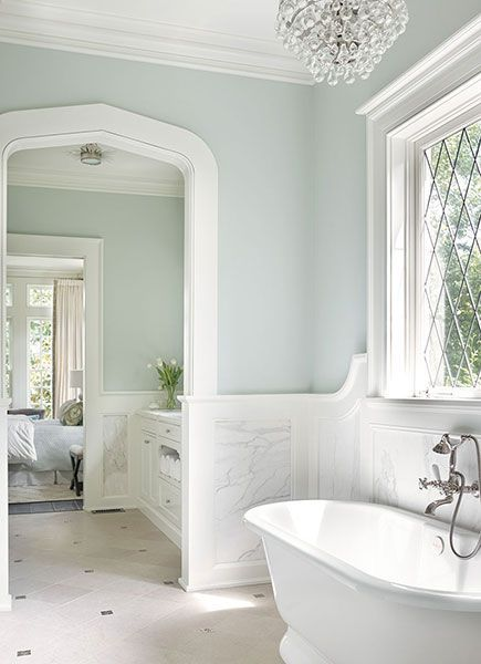 Bathroom with Marble Wainscoting - Transitional - Bathroom .