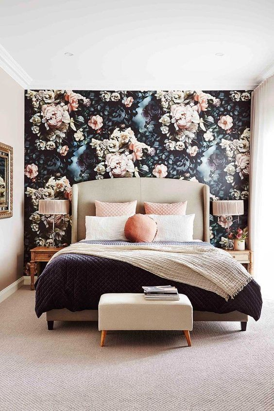 65 Bedrooms With Wallpaper Accent Walls - Shelterne
