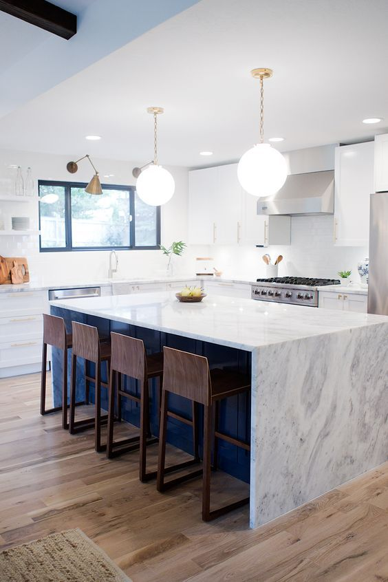 39 Trendy And Chic Waterfall Countertop Ideas   Home decor kitchen .