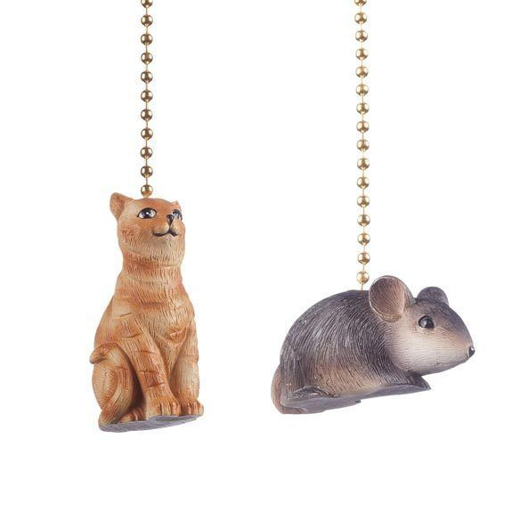 Hanging Ceiling Fan & Light Chain Pull Whimsical Cat & Mouse Set .