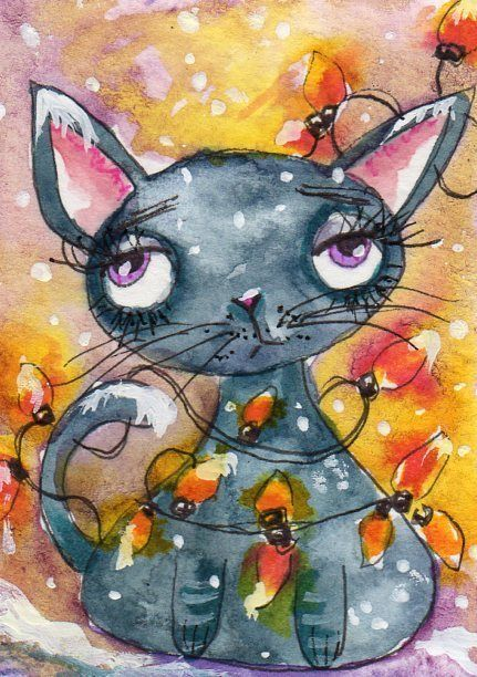 ACEO Original Painting Cat Christmas Lights Whimsical Art by .