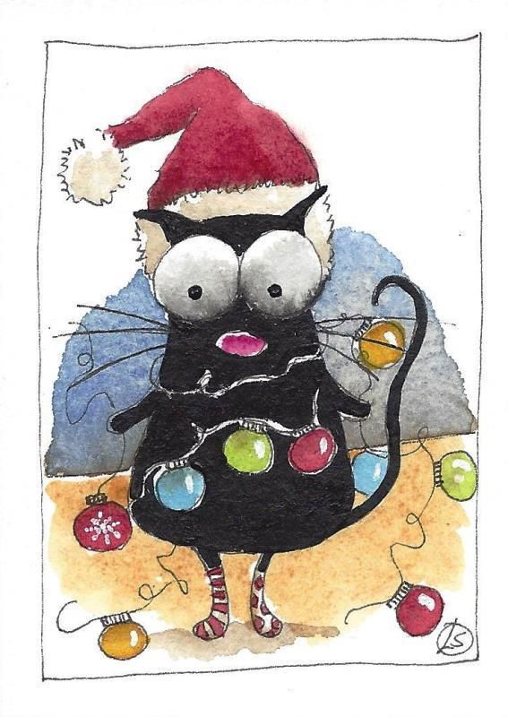 ACEO Original watercolor painting whimsical black cat Christmas .