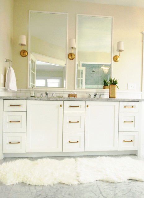 WHITE AND GOLD MASTER BATH - American Traditional - Bathroom .