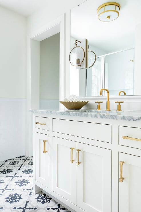 White Gold and Gray Bathroom Colors - Transitional - Bathro