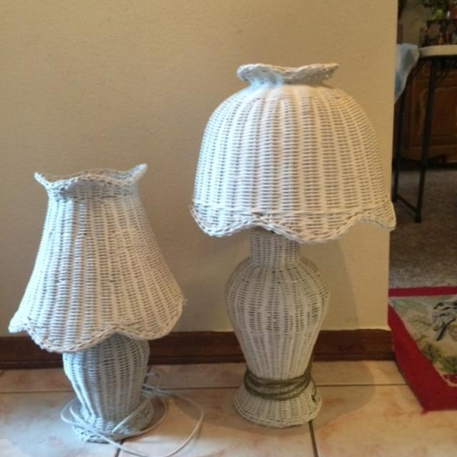 Best Vintage White Wicker Lamps (set Of 2) for sale in Tampa .