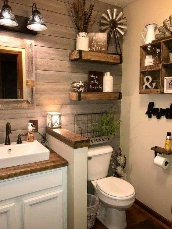 What a beautiful and welcoming famhouse style bathroom! The wood .