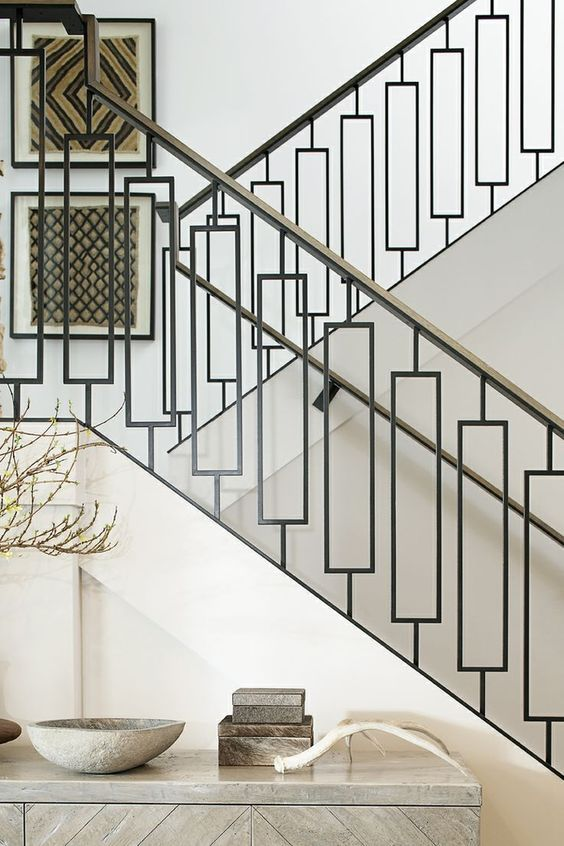 chic modern wrought iron railing for a stylish home   Interior .